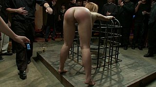 Strung up naked and whipped