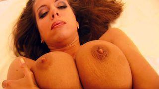 She licks her tits like stalagtites