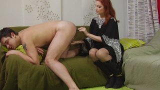 Sexy redhead mature bitch has a special treat for tight male ass hole
