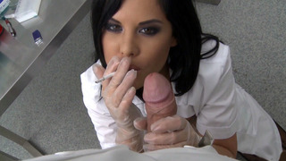 Doctor Madison Parker gives head while on her cigarette break