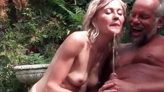 Old couple pissing and fucking outdoor