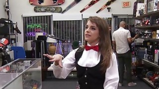 Card dealer deals with her pussy instead of cards