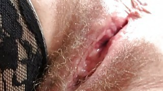 Redhead huge breasts mamma spreads her haired puss