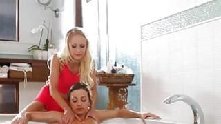 Pretty Natasha Voya fondled Abigails wet twat in the bathtub