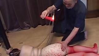 Voluptuous Japanese BDSM hot wax on big butt