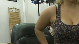Busty and big ass babe gets her twat fucked by pawn guy