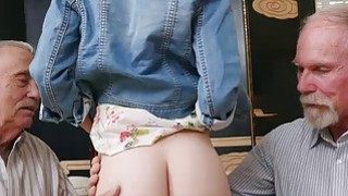 Old men exploit young hot redhead teen Dolly Little