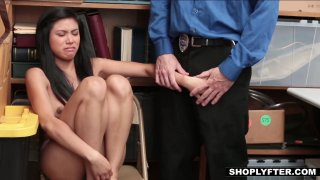 Asian shoplifting slut gets force fed some dick