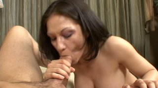 Sexy brunette gives solid blowjob to her boyfriend