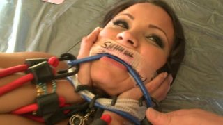 Sophia Lomeli's pussy producing light in BDSM games