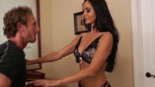 Brunette hottie Ava Addams demostrates her new lingerie making her boyfriend hard