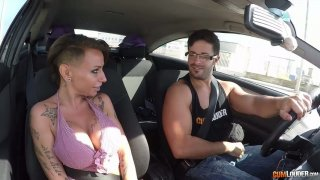 Big tittied hooker Gina Snake is picked up and fucked in the car