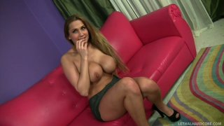 Voracious whore Alanah Rae with fake rounded tits gives a head to Billy Glide